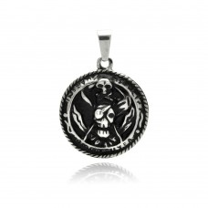 Wholesale Stainless Steel Skull Medallion Charm Pendant - SSP00320
