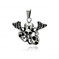 Wholesale Stainless Steel Winged 3 Skull Charm Pendant - SSP00321