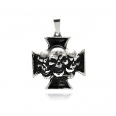 Wholesale Stainless Steel Skull Center Cross Charm Pendant - SSP00322