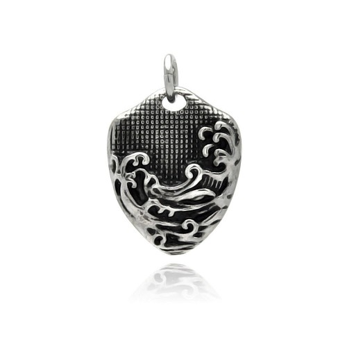 Wholesale Stainless Steel Wave Design Dog Tag Charm Pendant - SSP00333