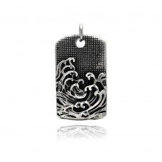 Wholesale Stainless Steel Wave Design Dog Tag Charm Pendant - SSP00334