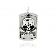 Wholesale Stainless Steel Skull Crossbone Center Dog Tag Charm Pendant - SSP00337