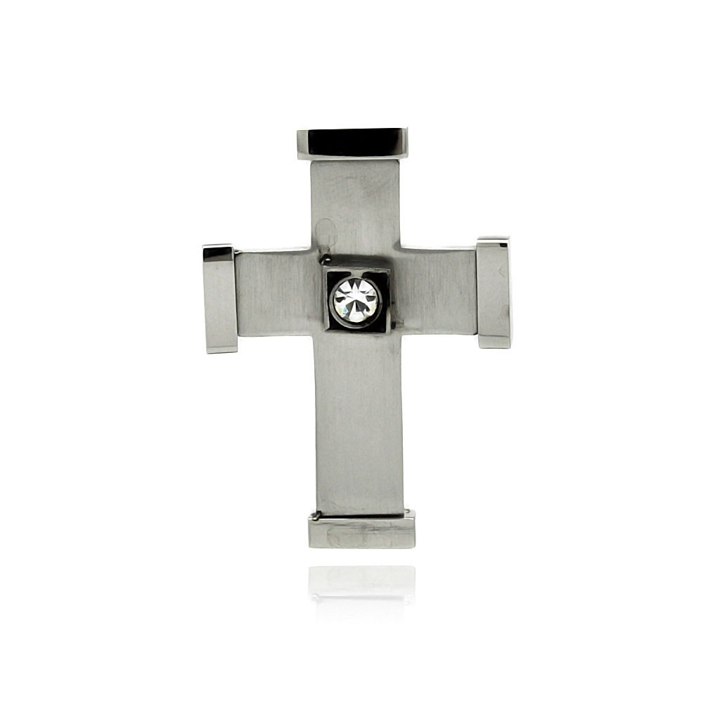 Wholesale stainless steel cross clear crystal center charm pendant wholesale stainless steel cross clear crystal center charm pendant ssp00340 aloadofball Images