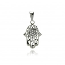 Wholesale Stainless Steel Star of David Hamsa Charm Clear Crystal Pendant - SSP00368