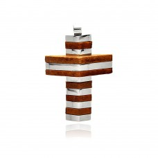 Wholesale Stainless Steel Stripe Wood Cross Charm Pendant - SSP00374
