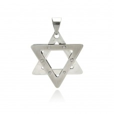 Wholesale Stainless Steel Star of David Clear CZ Charm Pendant - SSP00379
