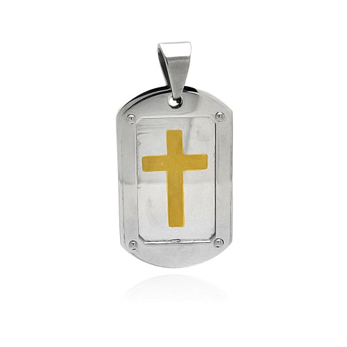 Wholesale Stainless Steel Gold Plated Cross Dog Tag Charm Pendant - SSP00391