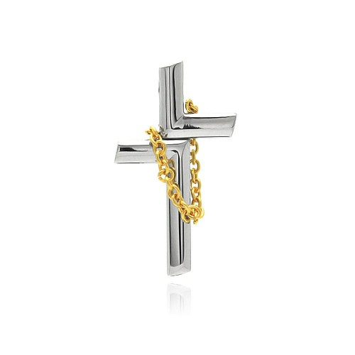 Wholesale Stainless Steel Gold Plated Chain Cross Charm Pendant - SSP00400