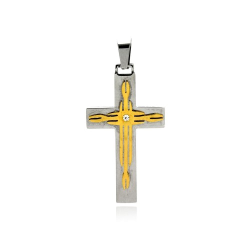 Wholesale Stainless Steel Gold Plated Two Tone Cross Clear Crystal Charm Pendant - SSP00411
