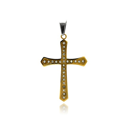 Wholesale Stainless Steel Gold Plated Cross Clear Crystal Charm Pendant - SSP00421