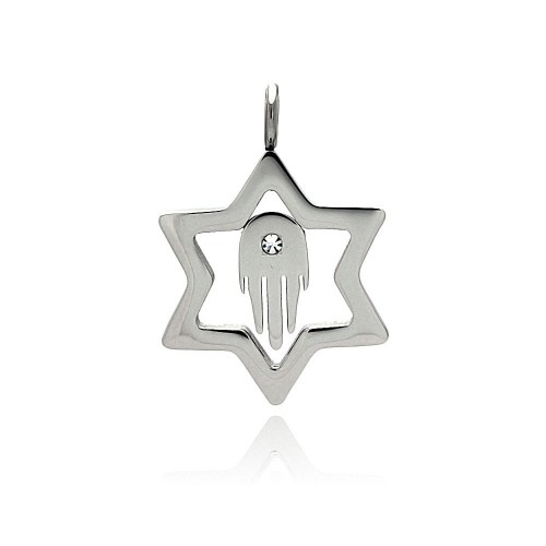 Wholesale Stainless Steel Open Star of David Hamsa Clear Crystal Charm Pendant - SSP00406