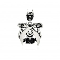 Wholesale Stainless Steel Skull Swords Charm Pendant - SSP00415