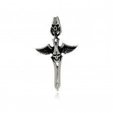 Wholesale Stainless Steel Winged Skull Dagger Charm Pendant - SSP00420