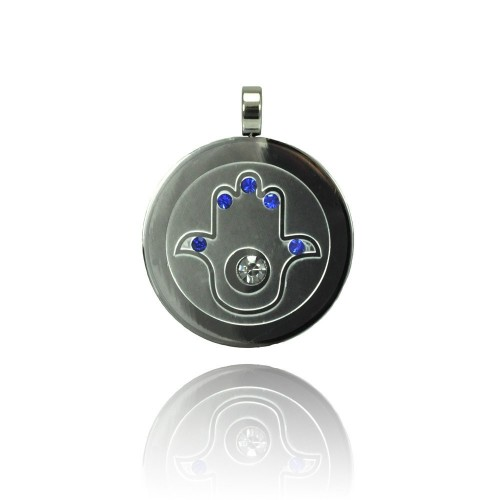 Wholesale Stainless Steel Hamsa Clear and Blue CZ Charm Pendant - SSP00429