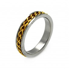 Men's Stainless Steel Gold Plated Chain Ring 5mm - SRB008G