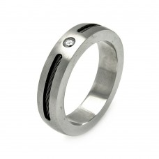 Men's Stainless Steel Cable Clear Crystal Center Ring 6mm - SRB017