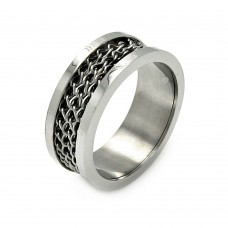 Wholesale Stainless Steel Chain Center Stainless Steel Band Ring 9.1mm - SRB018