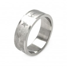 Wholesale Men's Stainless Steel Star Design Ring 8mm - SRB022