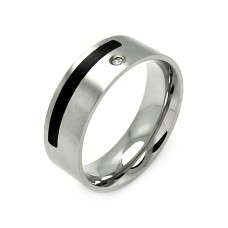 Wholesale Men's Stainless Steel Black Coating Clear Crystal Ring - SRB026