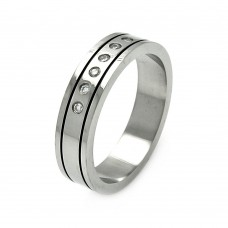 Wholesale Men's Stainless Steel Border Clear CZ Ring - SRB028