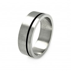 Wholesale Men's Stainless Steel Rubber Strip Ring - SRB037