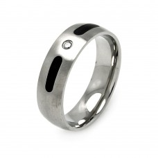 Wholesale Men's Stainless Steel Black Coating Clear Crystal Ring - SRB038