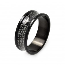 Wholesale Men's Stainless Steel Black Rhodium Plated Border Padre Nuestro Ring - SRB040