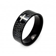 Wholesale Men's Stainless Steel Black Rhodium Plated Padre Nuestro Ring - SRB041