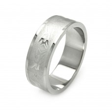 Wholesale Men's Stainless Steel Matte Finish Abstract Design Ring - SRB050