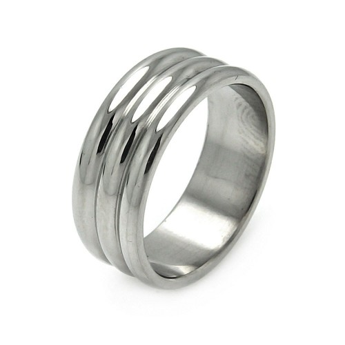 Wholesale Men's Stainless Steel Three Row Ring - SRB053
