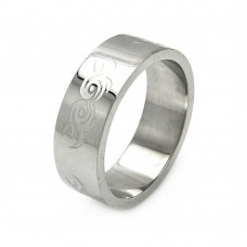 Wholesale Men's Stainless Steel Abstract Swirl Design Ring - SRB054