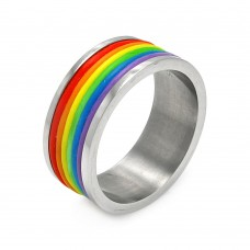 Wholesale Men's Stainless Steel Multi Color Rainbow Ring - SRB056