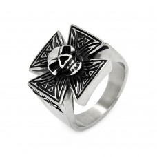 Wholesale Men's Stainless Steel Skull Center Iron Cross Ring - SRN001
