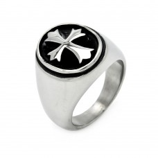 Wholesale Men's Stainless Steel Oval Disc Cross Ring - SRN002