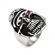 Wholesale Men's Stainless Steel Pilot Skull Head Red Crystal Ring - SRN006