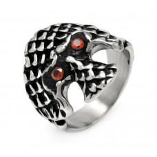Wholesale Men's Stainless Steel Scaled Skull Red Crystal Ring - SRN007