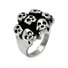 Wholesale Men's Stainless Steel Multi Skull Ring - SRN008