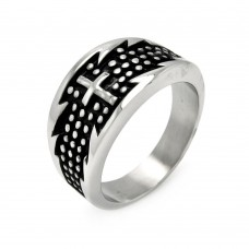Wholesale Men's Stainless Steel Dotted Cross Ring - SRN009