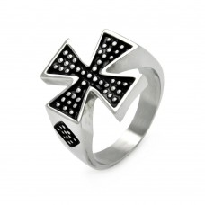 Men's Stainless Steel Iron Cross Dotted Ring - SRN010