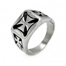Wholesale Men's Stainless Steel Square Iron Cross Ring - SRN019