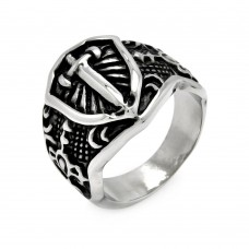 Wholesale Men's Stainless Steel Shield Sword Ring - SRN022