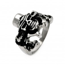 Wholesale Men's Stainless Steel Skull Hat and Bones Ring - SRN023