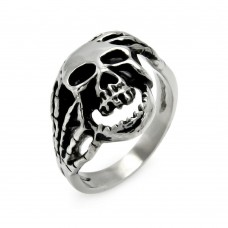 Wholesale Men's Stainless Steel Skull and Hands Ring - SRN024