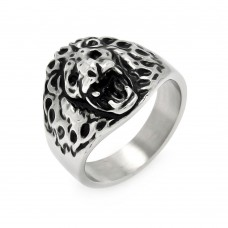 Wholesale Men's Stainless Steel Lion Head Ring - SRN025