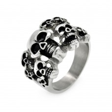 Wholesale Men's Stainless Steel Multi Skull Ring - SRN026