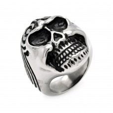 Wholesale Men's Stainless Steel Wave Skull Ring - SRN027