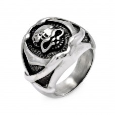 Wholesale Men's Stainless Steel Skull Head Center Ring - SRN028