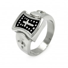Wholesale Men's Stainless Steel Dotted Cross Ring - SRN032