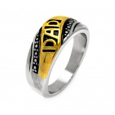 Men's Stainless Steel Gold Plated Dad Ring - SRN033