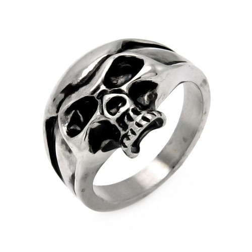 Wholesale Men's Stainless Steel Half Skull Head Ring - SRN034